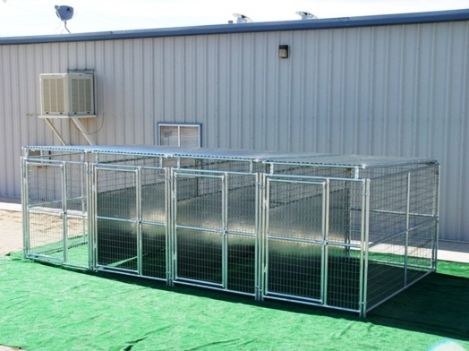 4 Run Outside Dog Kennel with fight guard dividers and roof