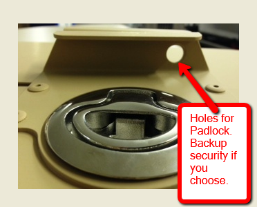 Back up security for padlock Collapsible aluminum crate