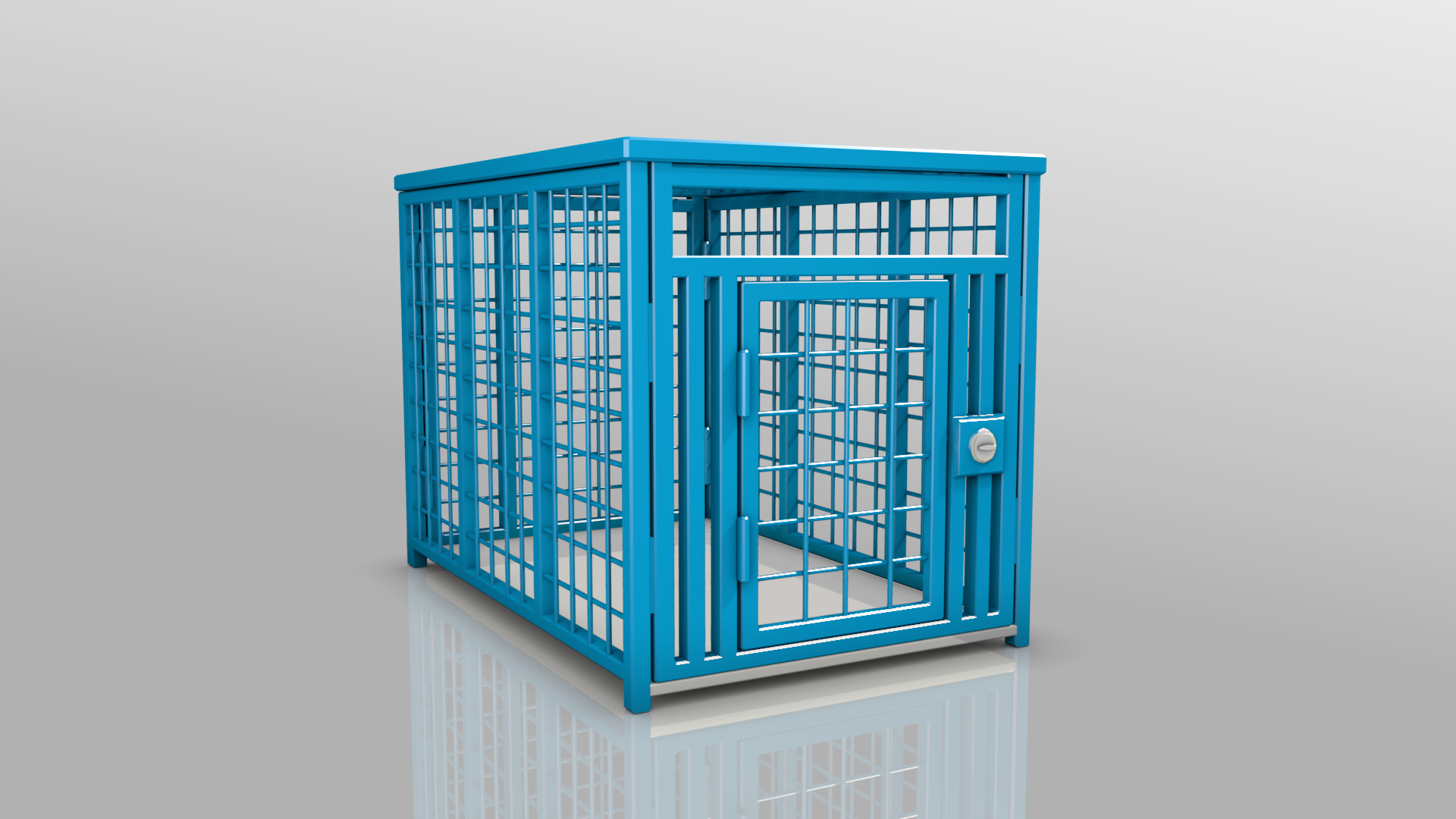Heavy Duty dog crate 3D Blue