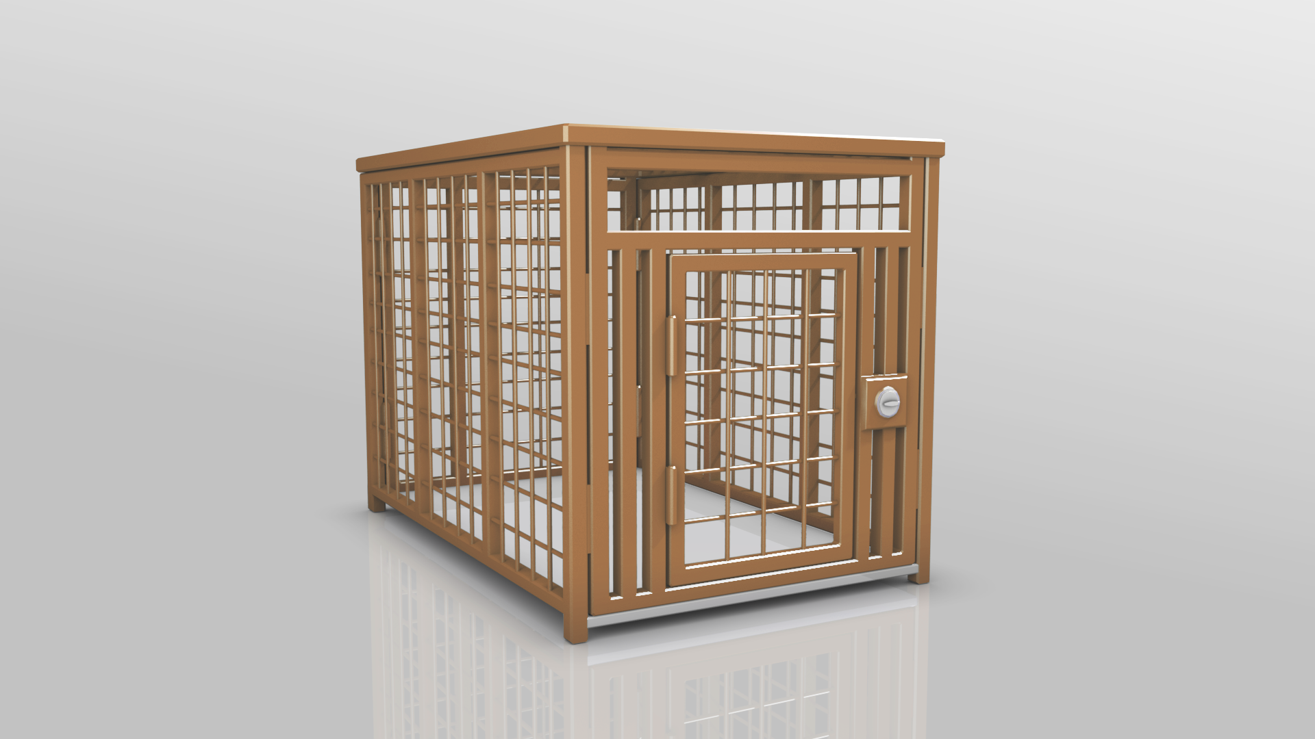 Heavy Duty dog crate 3D Brown