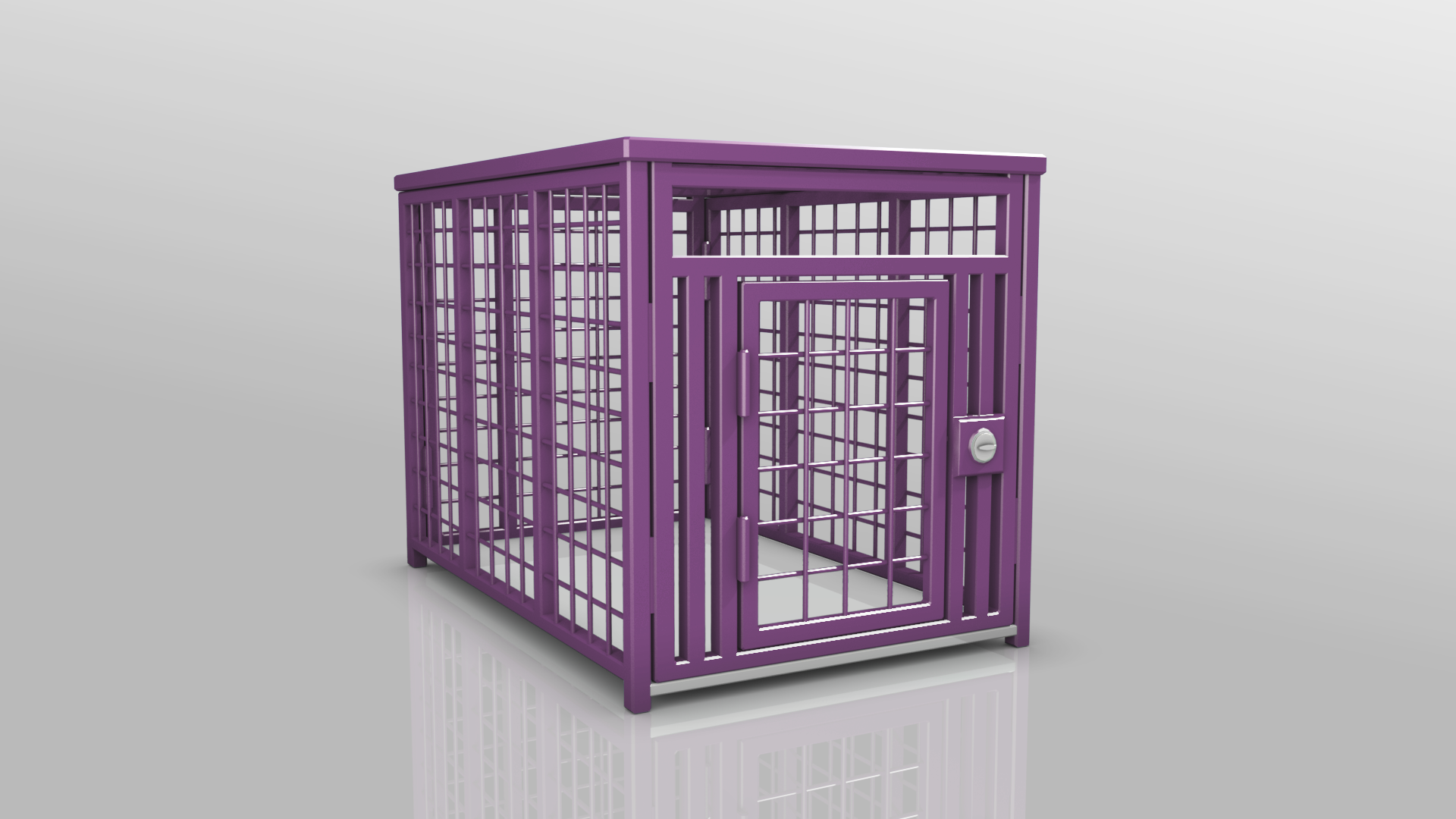 Heavy Duty dog crate 3D Gray Purple