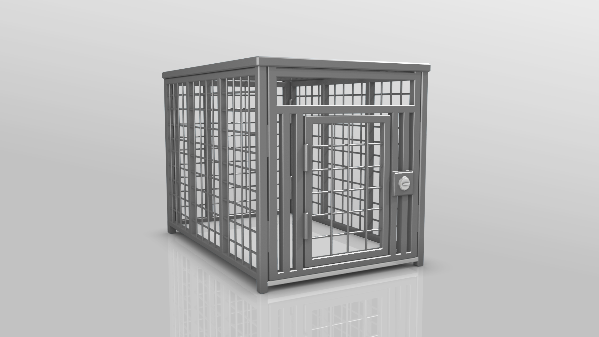 Heavy Duty dog crate 3D Gray