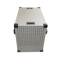 Heavy duty dog crate back side small vent holes