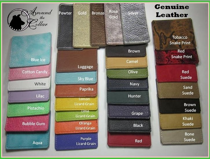 Color Chart for Around the Collar dog slings