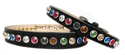 Bling dog collar random multi colored stones