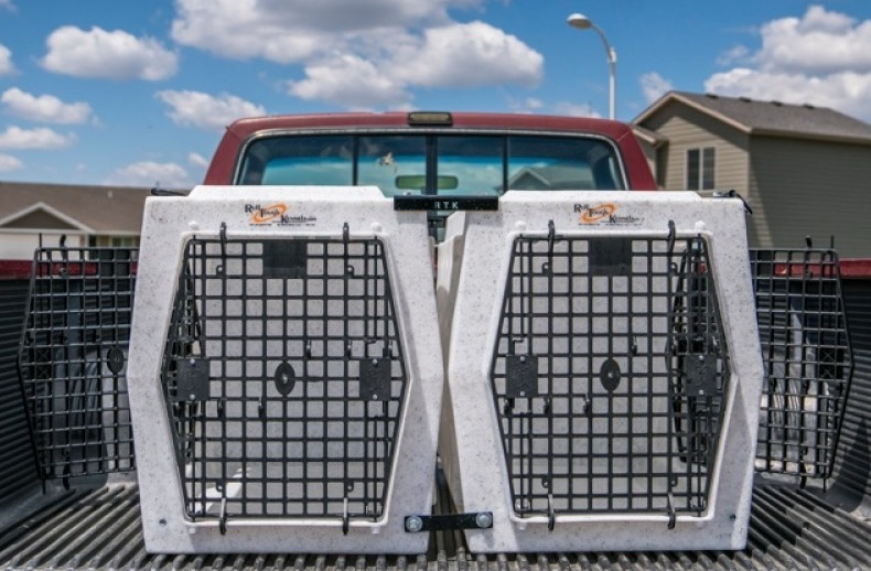 Ruff Tough Intermediate double door left and right kennels in truck.