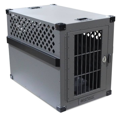 Gray Stationary Heavy Duty Aluminum Dog Crate