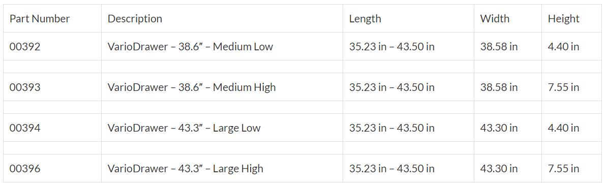 VarioDrawer_Size_Table