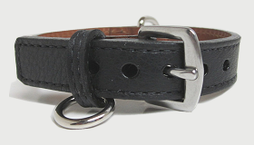 Measuring for bling dog collars with buckle closed in center hole.