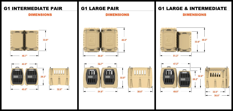 Gunner Kennels G1 Intermediate & Large Pair  Dimensions
